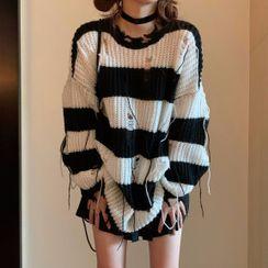 Ashlee - Striped Distressed Sweater