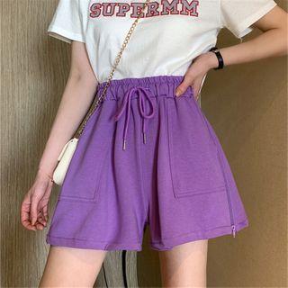 Mushini - Zip-Accent Drawstring Wide Leg Shorts