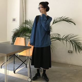 Gilmort - Long-Sleeve Plain T-Shirt / Midi A-Line Skirt