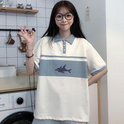 Chrysallisia - Shark Print Collared Short-Sleeve T-Shirt