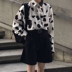monroll - Dairy Cow Printed Long-Sleeve Shirt / Wide Leg Shorts / Belt