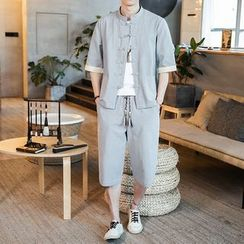Andrei - 套裝: 中袖盤扣襯衫 + 寬腿褲