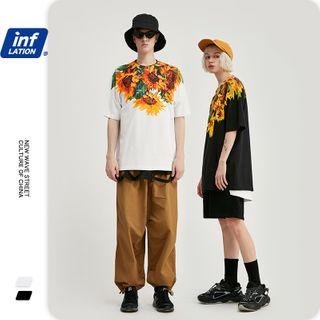Newin - Unisex Flower-Print Loose T-Shirt