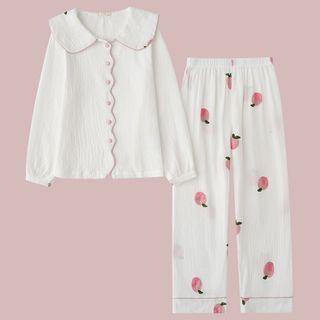 Miaowsha - 家居服套装: 长袖上衣 + 桃印花家居裤