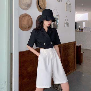 Be Bonita - Lapel Collar Double-Buttoned Cropped Top / High-Waist Plain Shorts