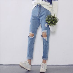 Kojasmine - 做旧窄身牛仔裤