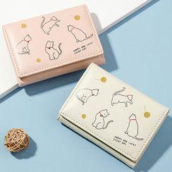 tablarosa(タブラロザ) - Cartoon Cat Print Trifold Short Wallet