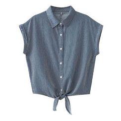 SILHO - Elbow Sleeve Cropped Denim Shirt