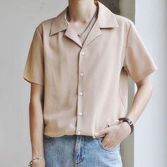 DragonRoad - 纯色短袖衬衫