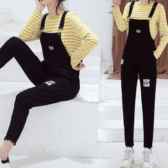 SUFU - Long-Sleeve Striped T-Shirt / Label Applique Ripped Denim Dungaree / Set