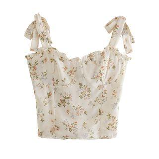 LexiLotte - Tie-Strap Floral Print Frill Trim Cropped Camisole Top