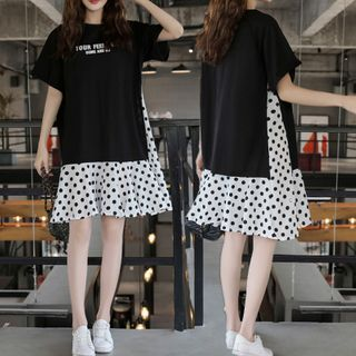 Enoki - Mock Two-Piece Lettering Short-Sleeve A-Line T-Shirt Dress