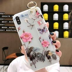 Pixel Dream - Floral Print Mobile Case with Strap - iPhone 6 / iPhone 6s / iPhone 6 Plus / iPhone 6s Plus / iPhone 7 / iPhone 7 Plus / iPhone 8 / iPhone 8 Plus / iPhone X / iPhone XS / iPhone XS Max / iPhone XR