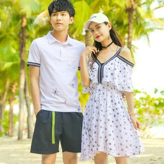 NoonSun - Couple Matching Striped Short-Sleeve Polo Shirt / Printed Cold Shoulder Short-Sleeve A-Line Dress