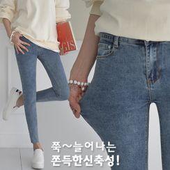 Seoul Fashion - Cut-Hem Washed Skinny Jeans