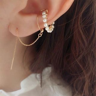 Diplet - Faux Pearl Chained Cuff Earring
