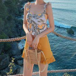 Oleil - 套装: 细肩带印花泳衣上衣 + 泳裙
