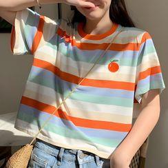 Sinfonietta - Fruit Embroidered Striped Short-Sleeve T-Shirt
