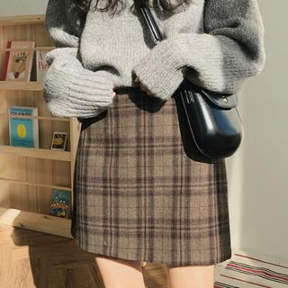 Leoom - Mini A-Line Plaid Skirt