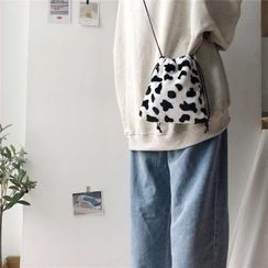 Sacculi - Furry Cow-Print Drawstring Bag