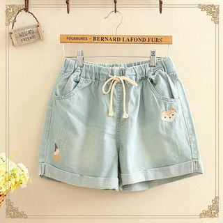 Kawaii Fairyland - Embroidered Drawstring Denim Shorts