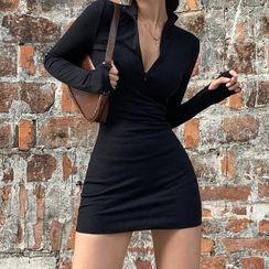 HERMITAKH - Long-Sleeved Zip-Up Bodycon Mini Dress