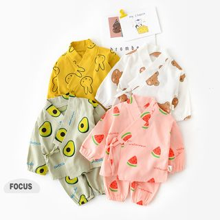 Cen2ury - Kids Pajama Set: Printed Long-Sleeve Kimono Top + Pants