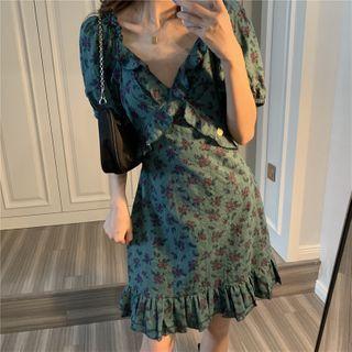 Serendipitous - Floral Print Ruffled Puff-Sleeve Mini A-Line Dress
