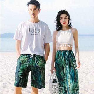 Charmaine - Couple Matching Sleeveless Swim Top / Swim Skirt / Swim Trunks / Set