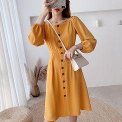 Tangihouse - Square-Neck Long-Sleeve Slim-Fit Dress