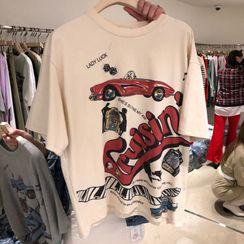 Blaklukka - Short-Sleeve Car Print T-Shirt
