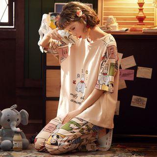Ribbonsong - Pajama Set: Printed Long-Sleeve Top + Lounge Pants