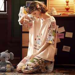 Ribbonsong - Pajama Set: Printed Long-Sleeve Top + Lounge Pants
