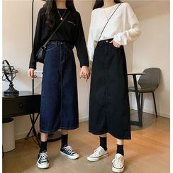 Moon City - Midi A-Line Denim Skirt