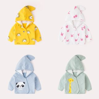 DuduBaby - Baby Cartoon Printed Hooded Buttoned Jacket
