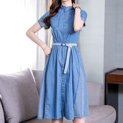 Deedlit - Stripe Panel Denim Midi Dress with Belt