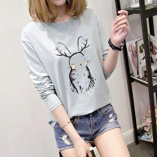 Arroba - Long-Sleeve Rabbit Print T-Shirt