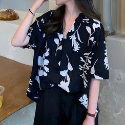 Dute - Elbow-Sleeve Floral Print Open-Collar Shirt
