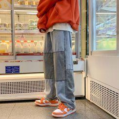 除一 - 拼布宽腿牛仔裤