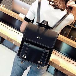 MUSA - Faux Leather Flap Backpack