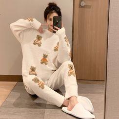 Endormi - 家居服套裝: 熊印花毛衣 + 褲