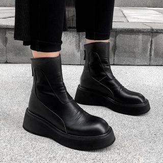 锦洋鞋业 - 真皮厚底短靴