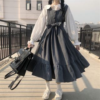 Sisyphi - Midi Jumper Dress / Ruffle Trim Blouse