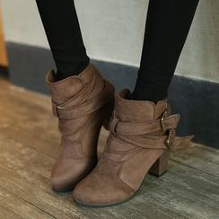 Tania - Block-Heel Ankle Strap Short Boots