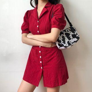 Sinora - Lapel Single-Breasted Puff-Sleeve Dress
