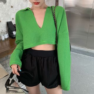 Baehype - V-Neck Collared Cropped Knit Top