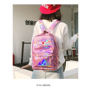 Youme - Lettering Iridescent Faux Leather Backpack
