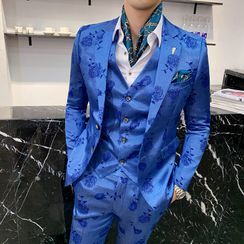 Blueforce - Set: Jacquard Single-Breasted Blazer + Vest + Dress Pants