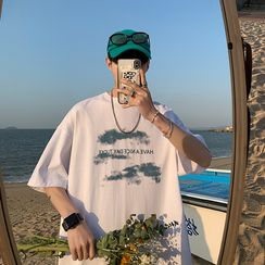 BORGO - Elbow-Sleeve Lettering T-Shirt