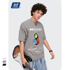 Newin - 笑脸药丸印花Oversized短袖T恤